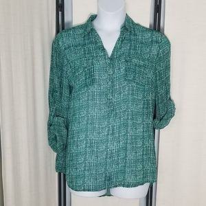 NWT NY&C teal black white plaid button blouse szXL